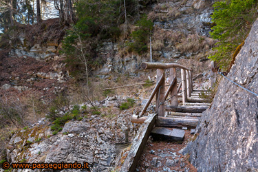 Il ponte in legno sospeso sul torrente